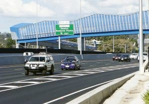 Powder Coated colourful new footbridges over the Ipswich Motorway. Photo: David Nielsen / The Queensland Times