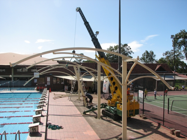 Shade Structures powder coated by Superior Coaters, Archerfield.
